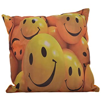 Twisha Smiley Printed Pillow 12 X 12 X 4 Inch