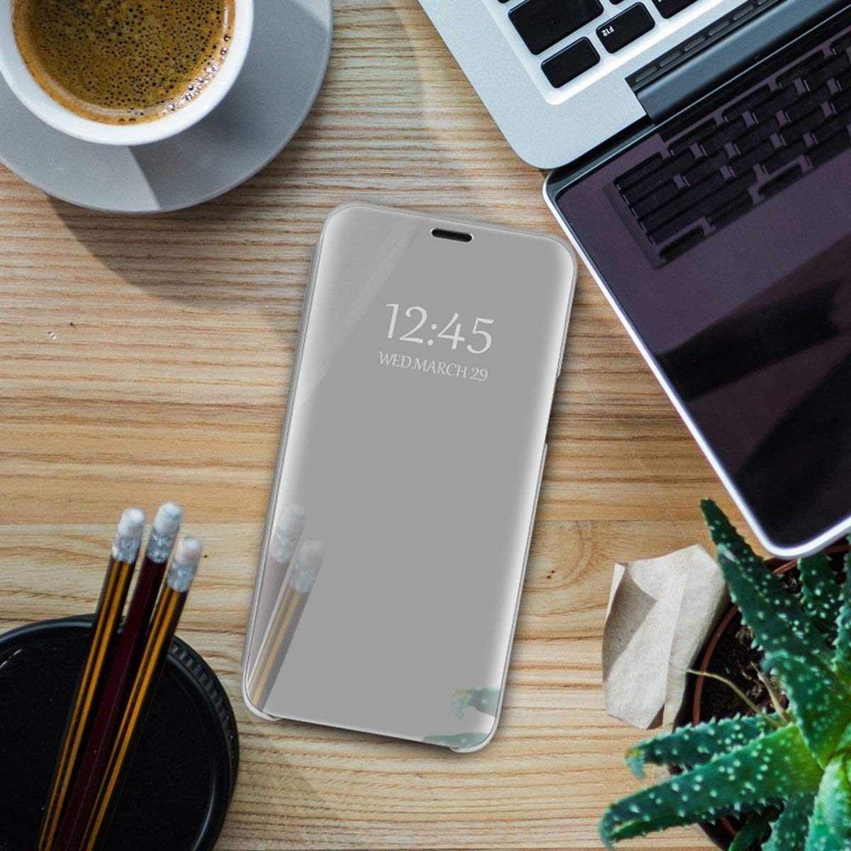 Caler Case Compatible Samsung Galaxy Note 9 Mirror Cover Clear View Crystal Case Protective Mirror Mobile Phone Case Flip Metallic Woman Scarf with Pouch Leather Case