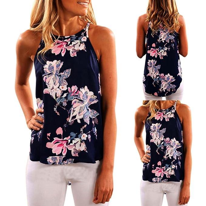 Mujeres Tops Piebo Cami Top Camisola Blusa Chaleco Tops Camiseta con Estampado de Flores Chaleco de Blusa Casual: Amazon.es: Ropa y accesorios