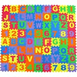 Alphabet Letters and Numbers Foam Puzzle Square Floor Mat, 6x6-Inches, 72-Pieces