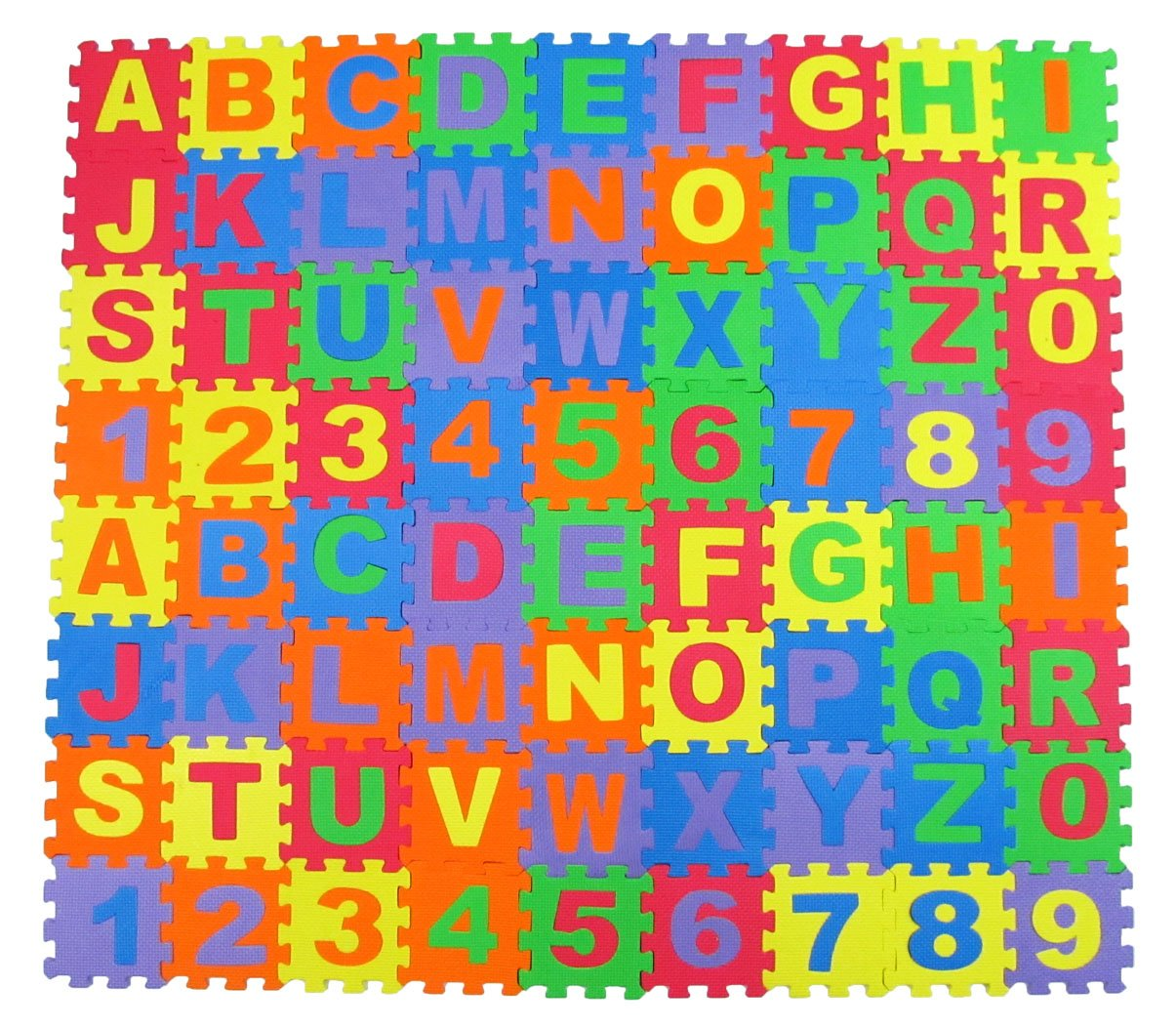 amazoncom alphabet letters and numbers foam puzzle square floor mat 6x6 inches 72 pieces toys games