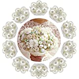 HABI 10pcs Decorative Rhinestone Pearl Flower Bead Buttons DIY Craft Embellishment for Wedding Clothes Hair Accessories Gift Decor No Hole for Sewing (Silver)