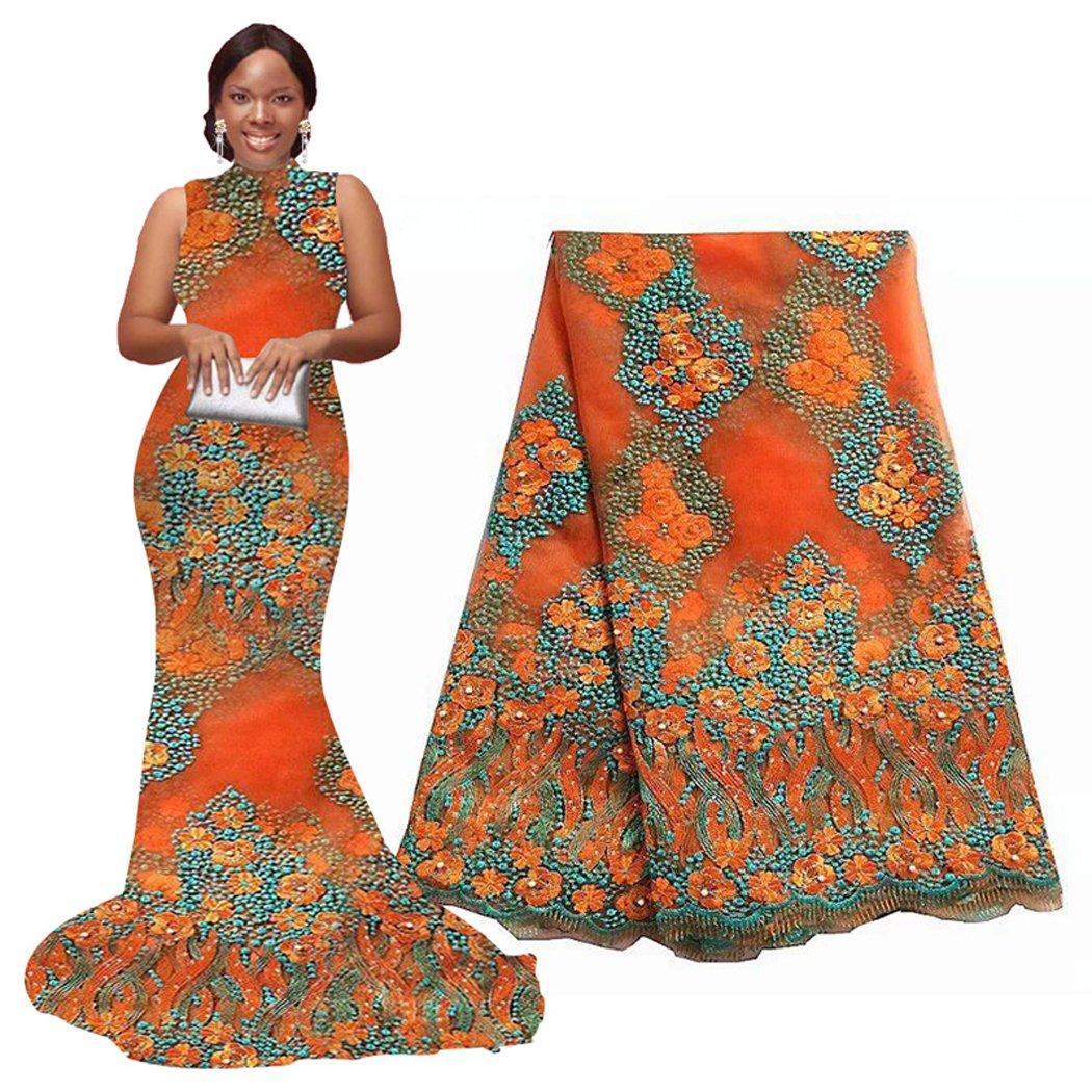 5 Yards African Lace Fabrics Nigerian French Beaded Tulle Fabric (orange) Ourwin USFBAF50343-2