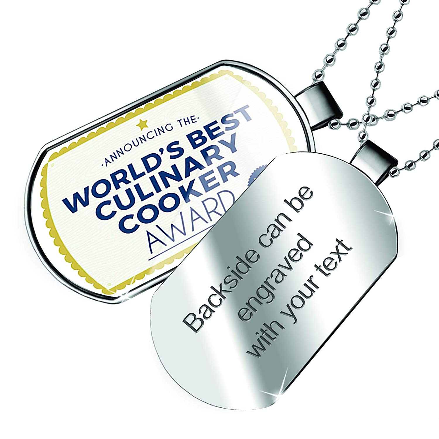 NEONBLOND Personalized Name Engraved Worlds Best Culinary Cooker Certificate Award Dogtag Necklace
