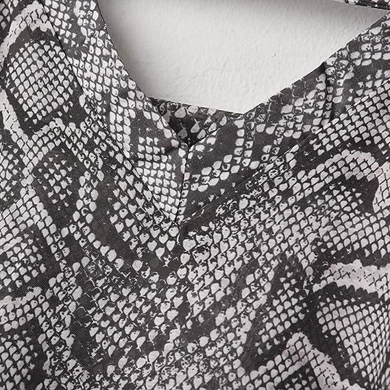 Mujer Camisas☆Rovinci☆Leopardo Serpiente Impreso Vendaje Moda Casual Botón T-Shirt Señoras Sueltas de Manga Larga Tops Blusa Otoño: Amazon.es: Ropa y ...