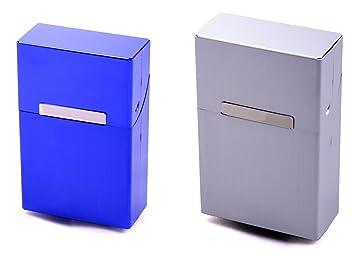 Cigarrillos Cajas doble Set Azul + Plata Aluminio en asequible Juego pitillera para cigarrillos Talla L: Amazon.es: Belleza
