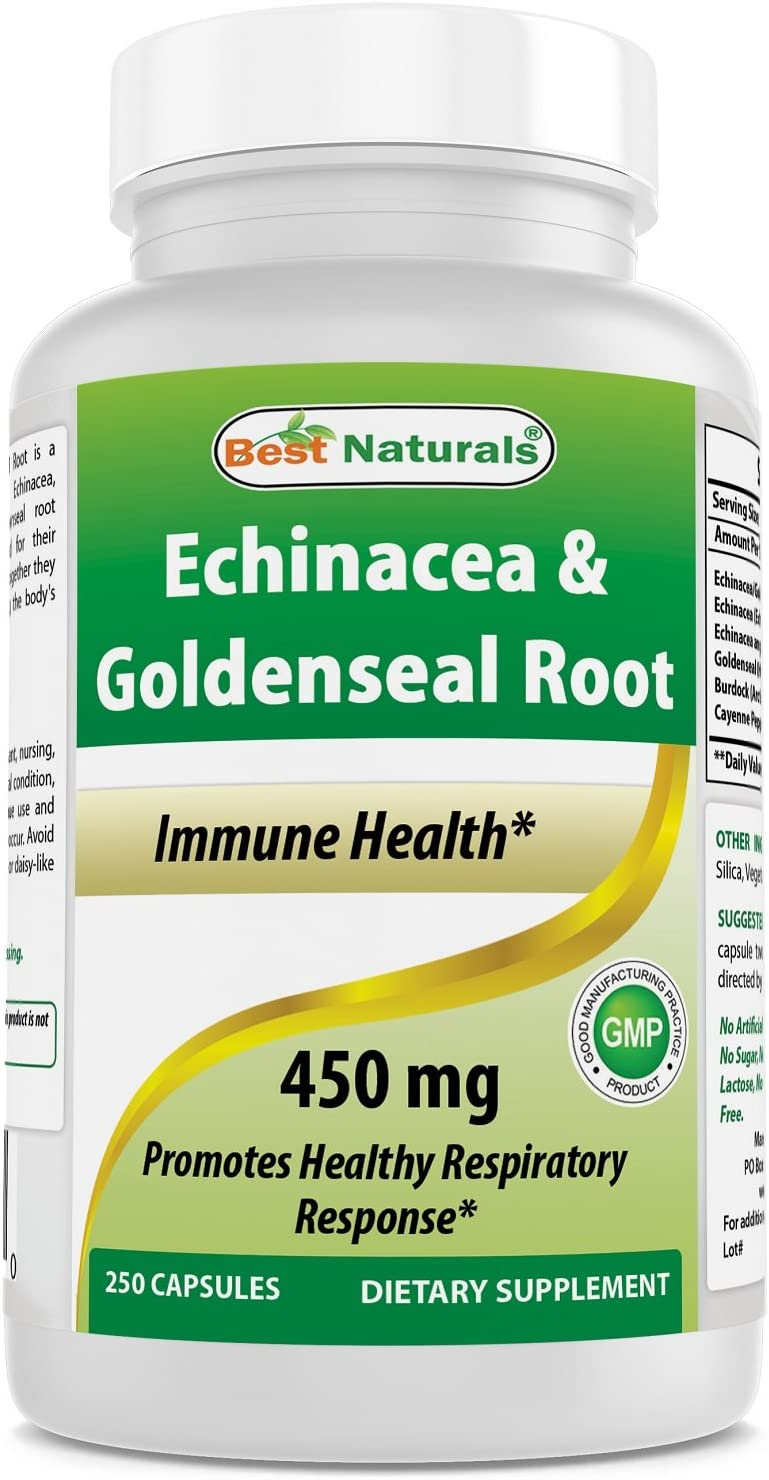 Best Naturals Echinacea Goldenseal 450 mg 250 Caps