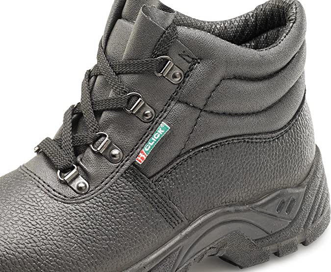 d5748eb2dc4 Click - Black Leather Safety Boot with Steel Toecap