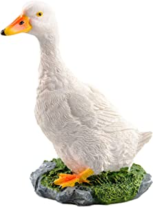 Simulation Duck figeuine, Resin Artificial Duck Decor, Duck Model Sculpture,Duck Statue, Simulation Animal Model, Outdoor or Indoor Art Crafts Statues Decor, for Garden, Pond Decoration( White )