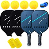 MB RUNEST Pickleball Paddles Set of 2 - Composite Honeycomb Core & Premium Graphite Face - Lightweight Racket Set – Covers, E