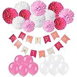 Recosis Pancartas de Banderines de Happy Birthday con 12 Piezas Pom Poms Bola de la Flor y 20 Piezas Globos de Fiesta para Decoración de Fiesta, Rosa