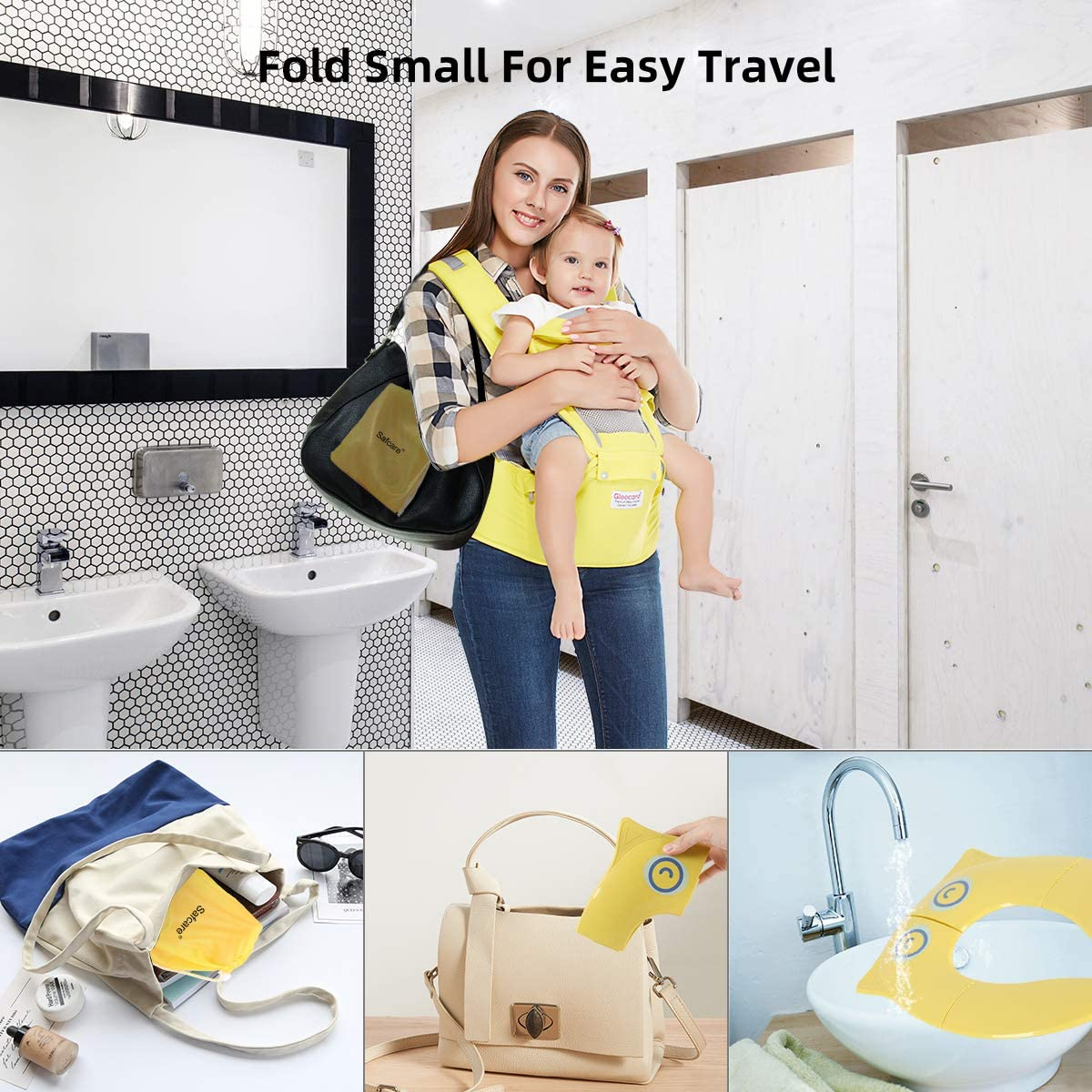 Travel Portable Reusable Toddlers Toilet Seat Covers Liners Fits Round /& Oval Toilets with Carry Bag Safcare Folding Large Non-Slip Potty Training Seat for Boys and Girls