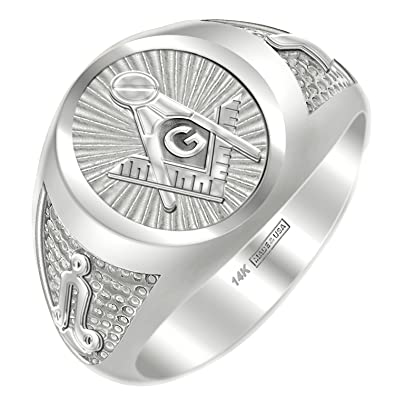 4b2ab5d677788 US Jewels And Gems Customizable Men's 14k Yellow or White Gold Blue Lodge  Freemason Masonic Ring, Size 8 to 14