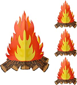 4 Sets 12inches Large Artificial Fire Fake Flame Cardboard 3D Campfire Centerpiece for Campfire Halloween Party Decorations (4)