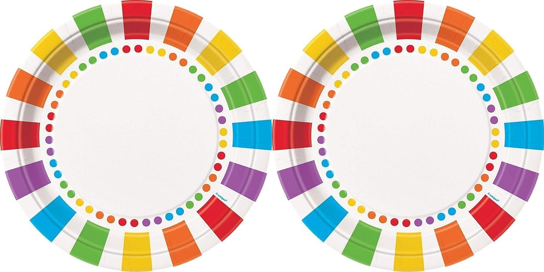 Unique Rainbow Party Dinner Plates 16 CT 47115