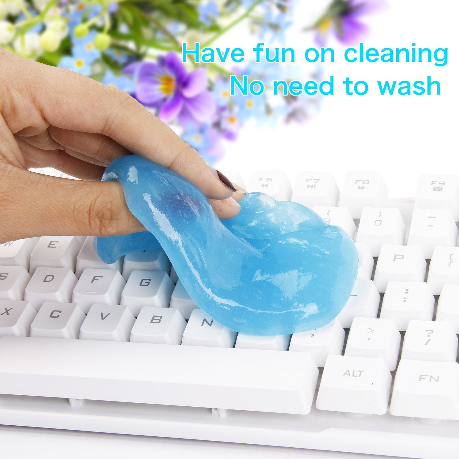 Bedee Keyboard Cleaner (5pcs)+ Storage Box Cyber Cleaning Gel Electronics Clean Putty Slime Home Office Remove Dust, Hair, Crumbs,Dirt from Computer Laptop Keypad, Calculator, Air Vent, Fan, Upgraded