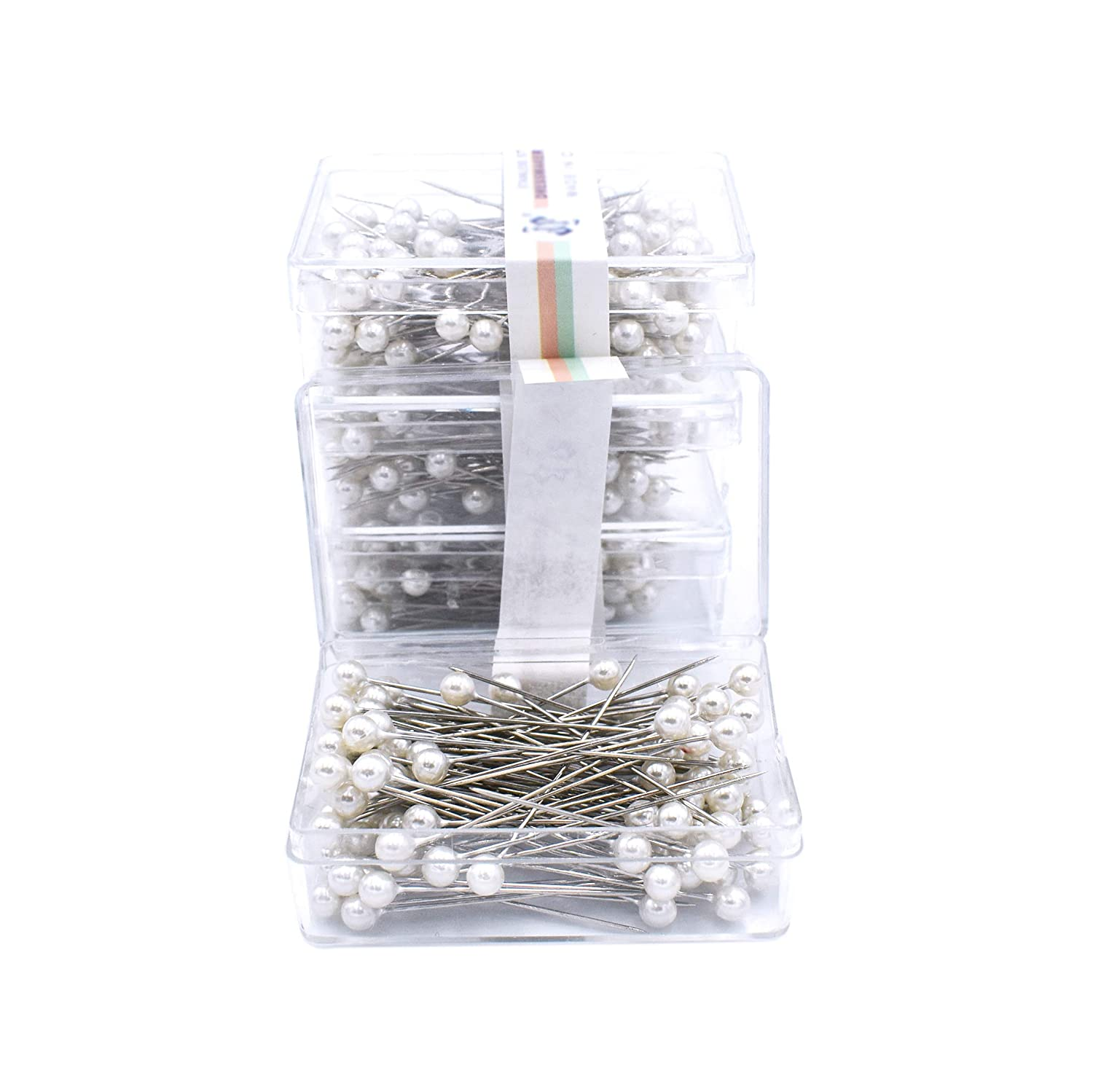 Firefly 400 Pcs White Color Straight Pins 1.5 Pearlized Ball Head for Sewing Quilting and Craft Decoration