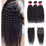 9A Brazilian Deep Wave Bundles With Closure (16 18 20 with 14) Deep Curly Bundles With Closure Deep Wave Human Hair Bundles W