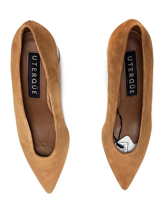 aaaa09505b899 Uterque Women's Suede Court Shoes with Wooden Heels 4127/051: Amazon ...