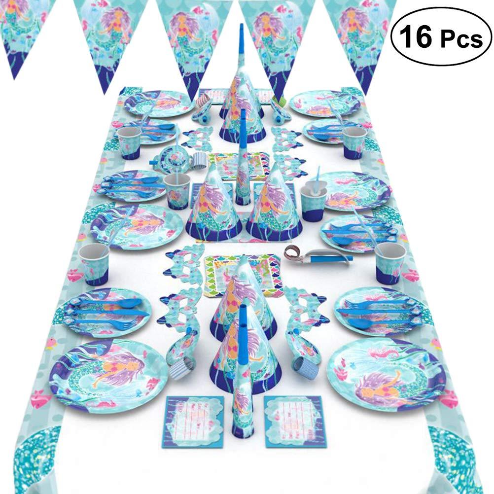 Toyvian 16 Piezas de Sirena de Papel Traje Fiesta de Fiesta de Halloween favores Suministros decoración Accesorios