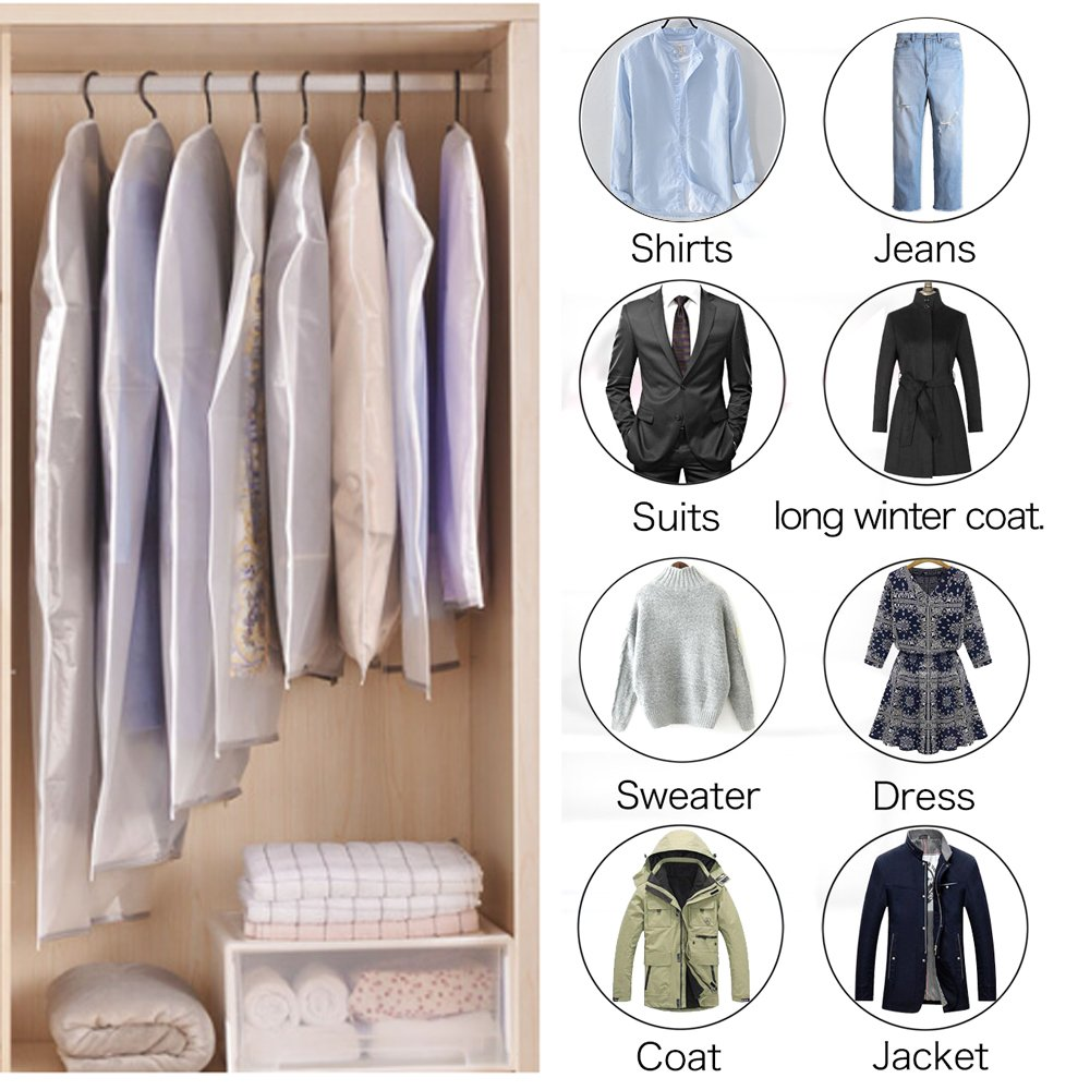 Etmury Garment Bags 6 Pack PEVA Clear Hanging Clothes bag for Clothing Suits or Dresses Closet Storage and Travel with Full Zipper Translucent Moth-Proof(24'' x 43 ''/ 50'') by Etmury (Image #5)