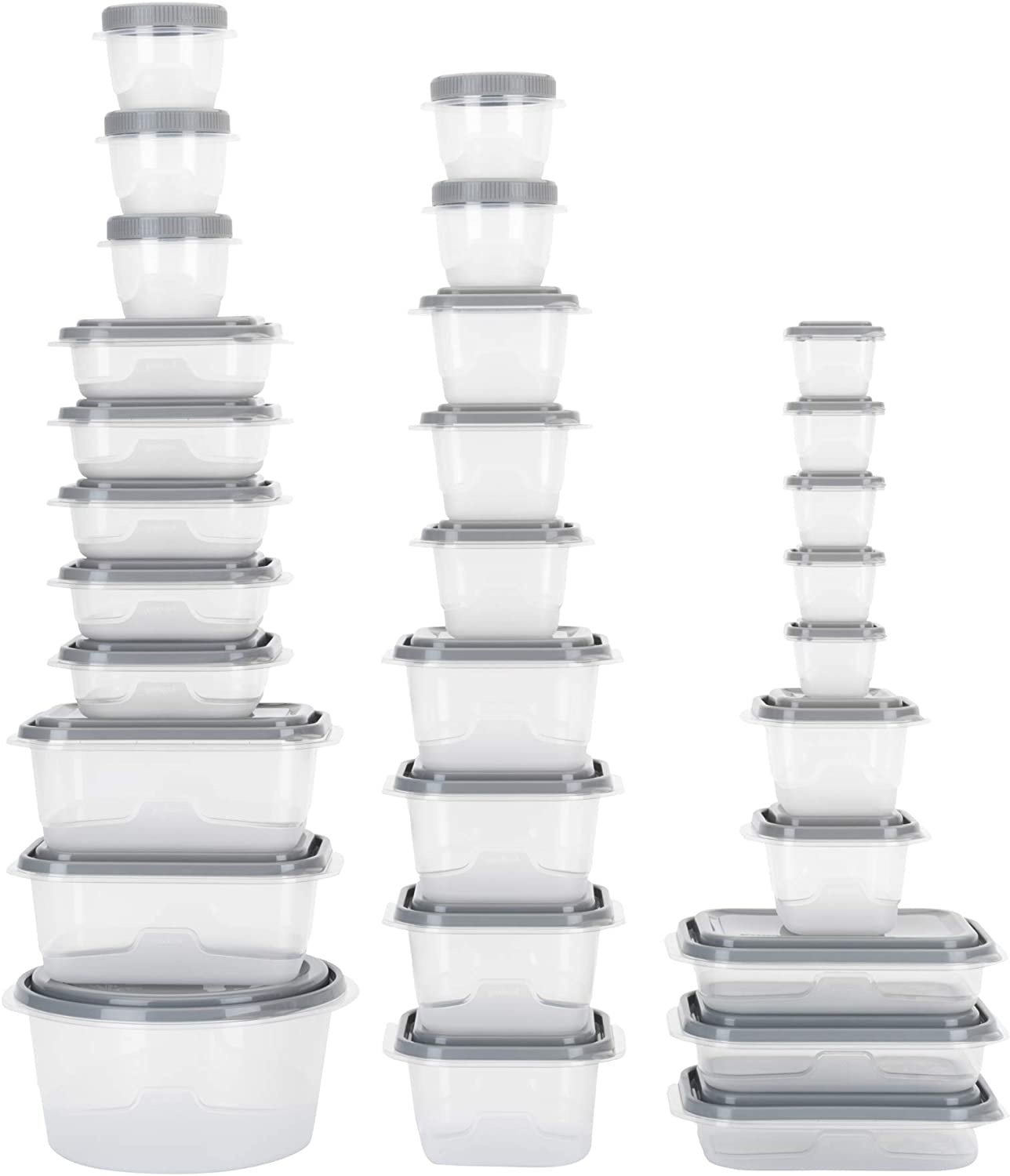 GoodCook EveryWare 60-Piece BPA-Free Plastic Food Storage Container Set, Clear/Grey
