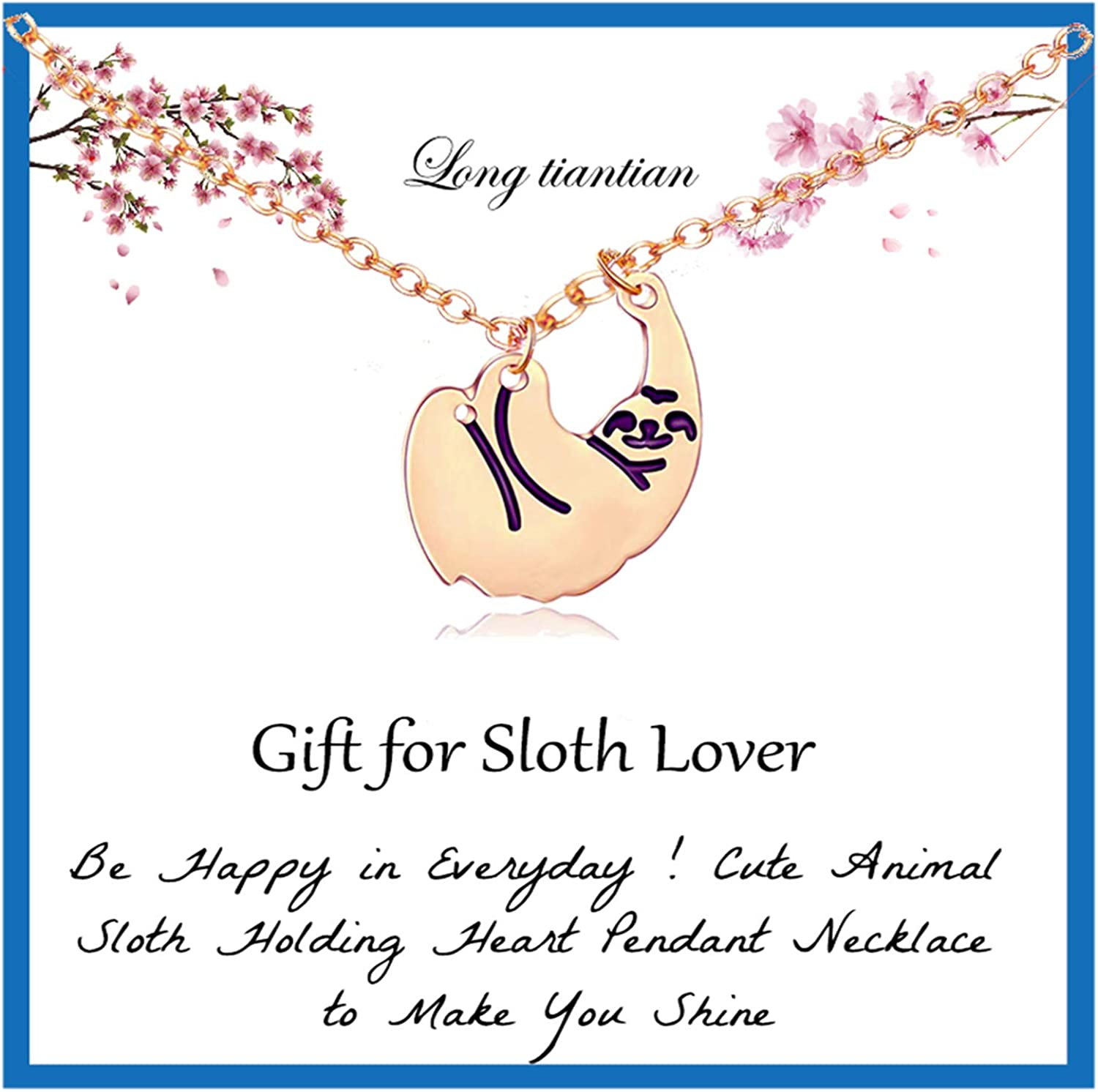 Long tiantian Hanging Sloth Necklace Gifts for Girlfriend Sloth Lovers Slider Sloths Stuffed BFF Necklace Animal Christmas Jewlery