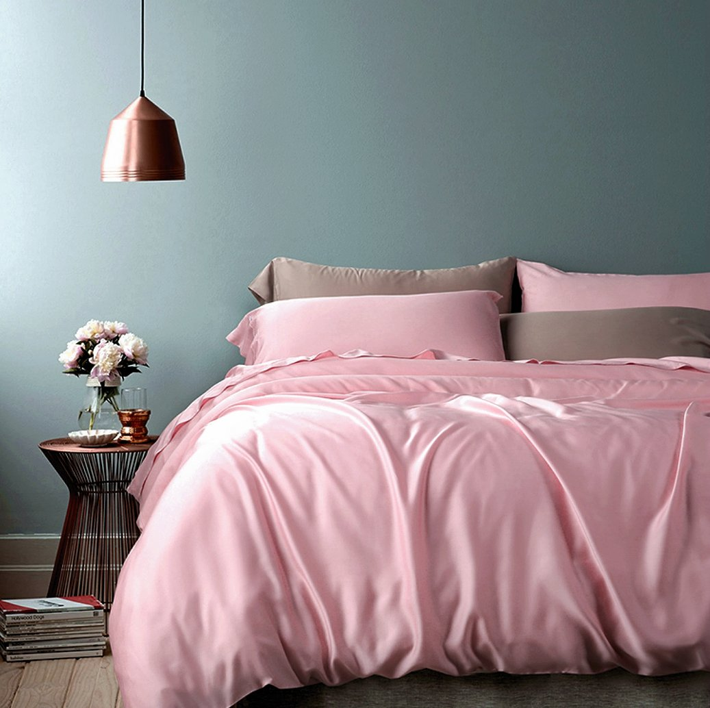 Luxury Bedding Set High Thread Count Egyptian Cotton Sateen Silky Soft Blush Pale Pink Solid Colored