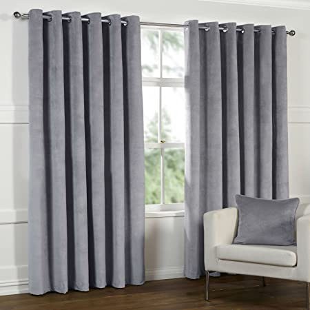 Superb THICK HEAVY Lined VELOUR Curtains DOVE GREY SILVER Size This Pair :  90x90u0026quot;/230x230cm