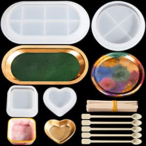 Tray Resin Molds, LEOBRO 4 Pack Geode Agate Tray Silicone Molds with 25 pcs Mixing Sticks, Epoxy Resin Casting Molds for Jewelry Plate, Rolling Tray, Geode Coaster, Soap Dish Making