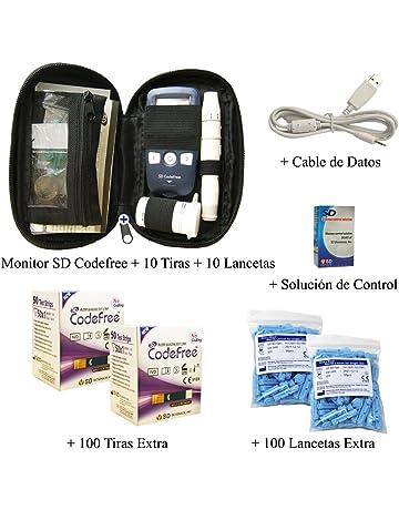 SD Codefree - Estuche que contiene Monitor de Glucosa, 10 Tiras, 10 Lancetas -