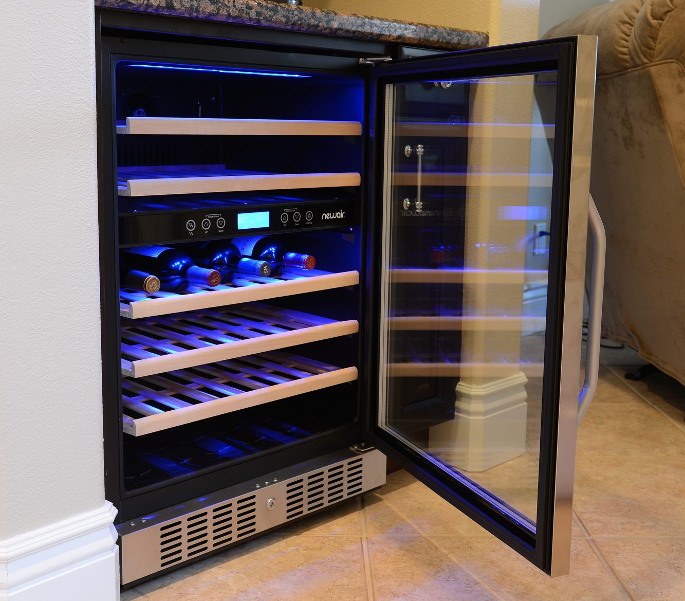 amazoncom newair awr460db 46 bottle built in dual zone compressor wine cooler stainless steel u0026 black kitchen u0026 dining - Dual Zone Wine Cooler