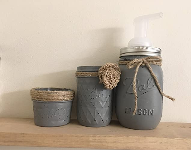 Three Piece Set Rustic Mason Jar Bathroom Storage, Mason Jar Organizer,  Bathroom Accessories,