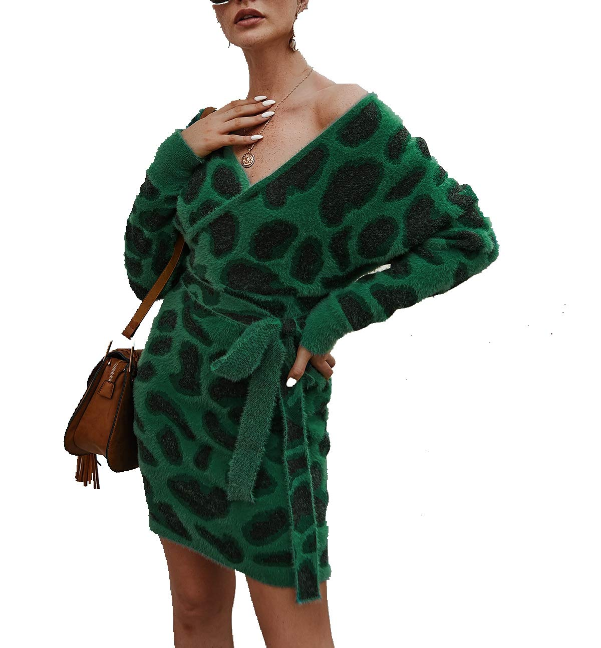 Women's Casual Knit Sweater Wrap Dress,Long Bat Wing Sleeve Leopard Print V Neck Backless Slim Fit Pencil Dresses with Belt Green by KINGLEN Womens Dress