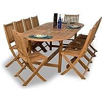 Amazonia Teak Bergen 11-Piece Teak Dining Oval Set