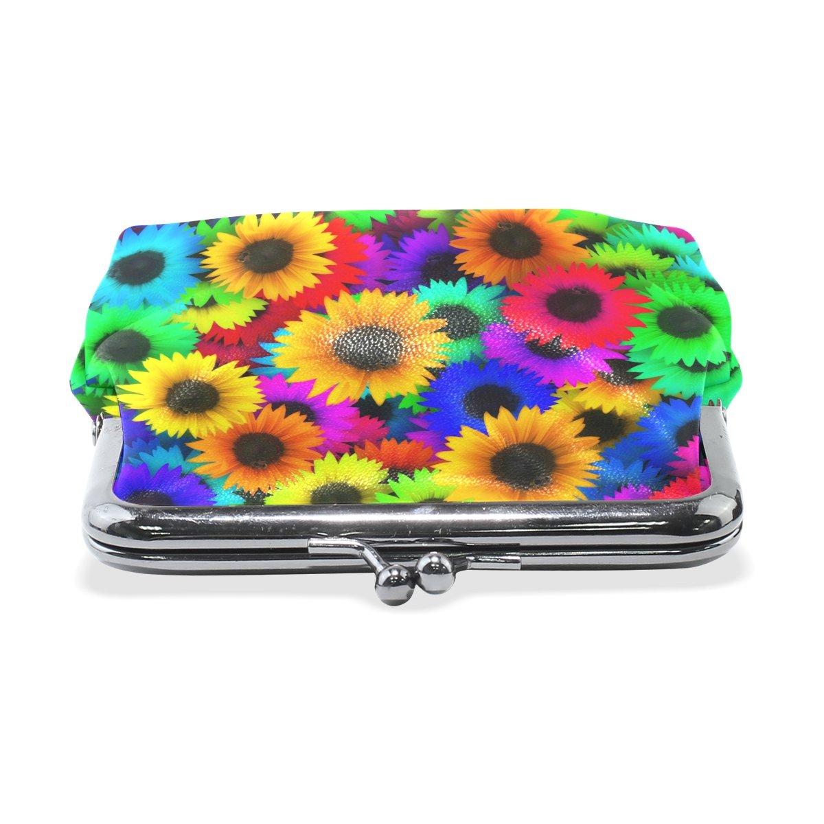 Coin Purse Sunflower Colorful Wallet Buckle Clutch Handbag For Women Girls Gift