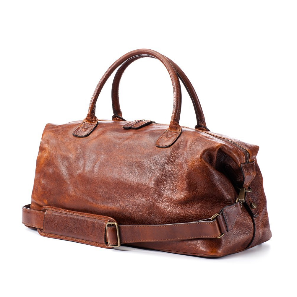 Moore and Giles Men's Leather Benedict Weekend Bag - Titan Milled Brown
