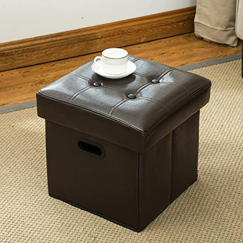 Yongchuang Folding Storage Ottoman Faux Leather Tufted Footrest Stool Cube Coffee Table