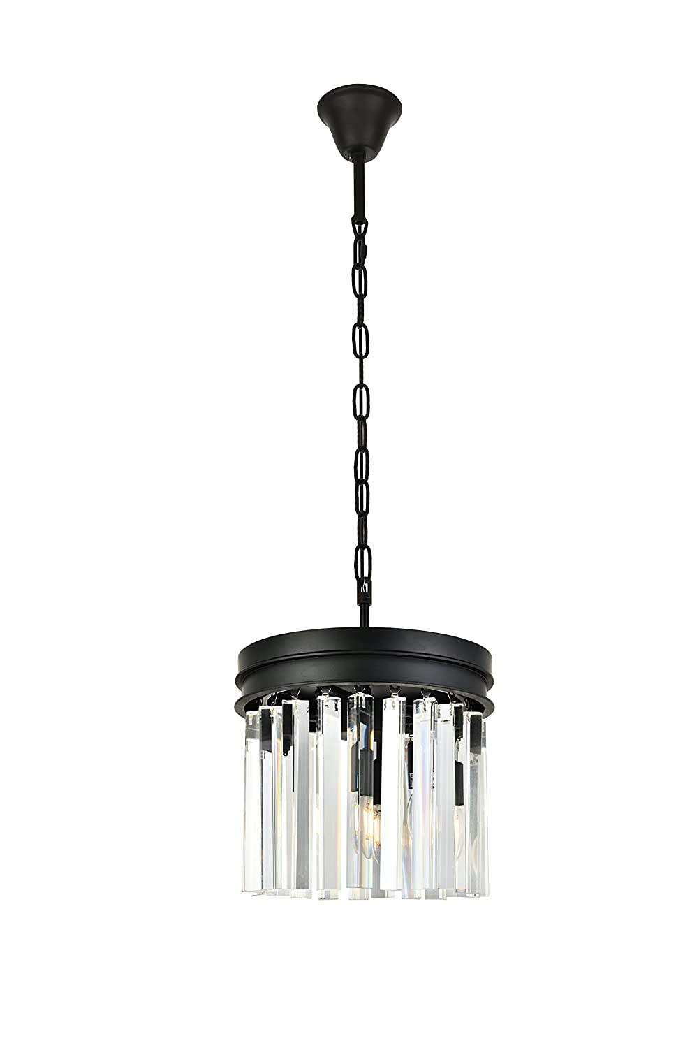 OmniLucent ARCD12PN-3714 Hyde Collection Pendant with 3 Lights and Clear Crystals 12 x 12 x 10 Polished Nickel Finish