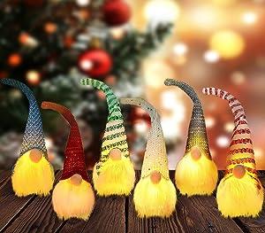 iBccly 6 Pcs Christmas Gnome Lights Handmade Swedish Tomte Gnomes Ornaments Scandinavian Santa Plush Doll Hanging Decoration Pendants Gnome Christmas Plush Ornaments Set (6PCS)