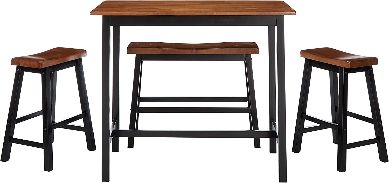 Christopher Knight Home Toluca Wood Dining Set, 4 Piece, Black Walnut