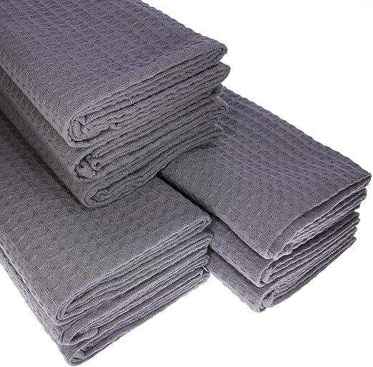 9 x – Trapo de algodón Suela de piqué en gris paños de cocina Paño agarradores: Amazon.es: Hogar