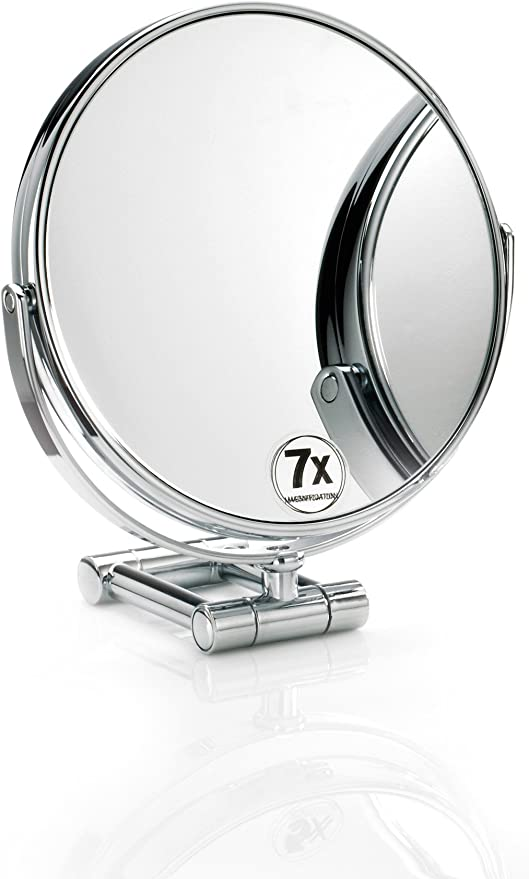 Amazon Com Dwba Round Cosmetic Table Makeup Adj Magnifying Mirror Chrome 7x Magnification Home Kitchen