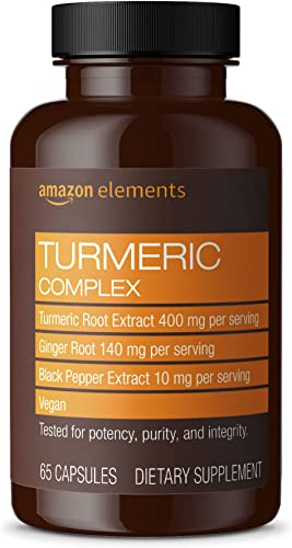 Amazon Elements Turmeric Complex, 400mg Curcumin, 140mg Ginger, 10mg Black Pepper – Joint Immune System, Healthy Inflammation Response – 65 Capsules 2 month supply Packaging may vary