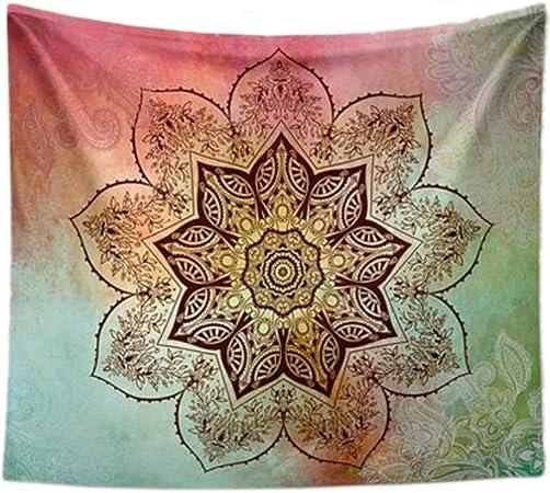 XXGI Tapiz Colgante De Pared Mandala Y Punta Verde Claro Tapices De Algodón Impreso Bohemia Hippie Doble Pared Tapiz De Mandala De Arte (150 * 130Cm (59.06 * 51.18 Pulgadas): Amazon.es: Hogar