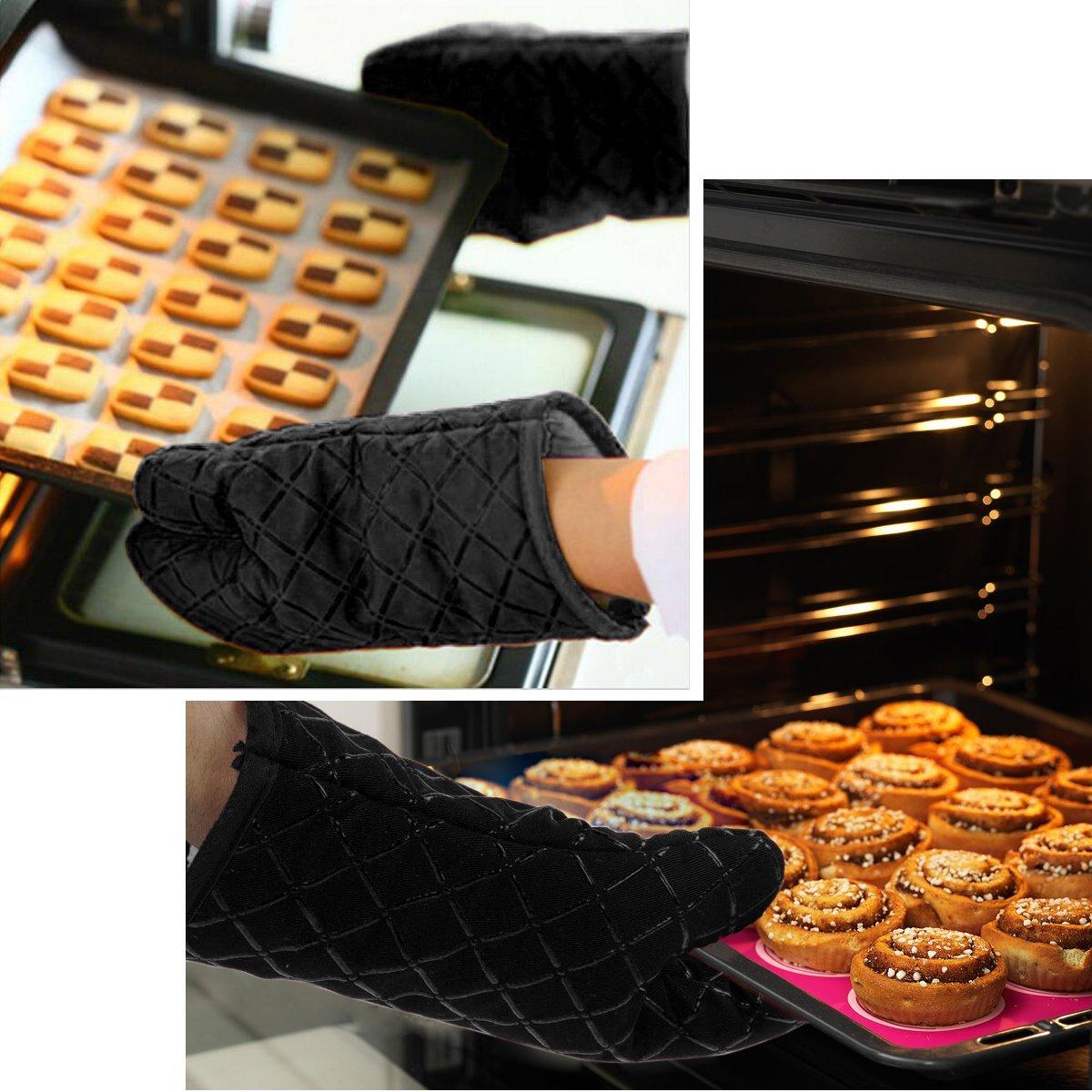 Grillade R/ésistantes /à La Chaleur en Silicone Gants de Four Doublure en Coton de Haute Qualit/é Cuisson Micro-Ondes 1 Paire Pot de Maintien Double Elite Antid/érapants Gants de Cuisine Noir