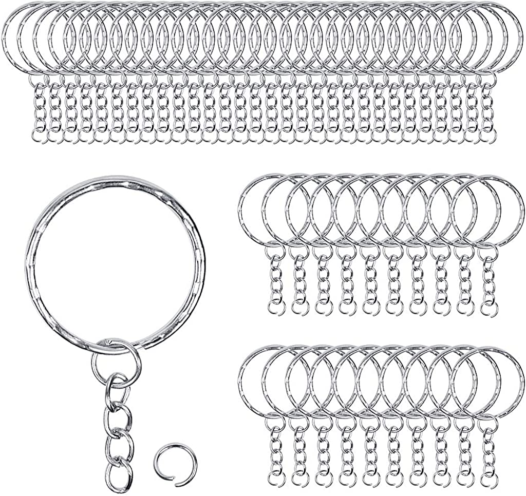 50 Pieces Metal Key Rings with Chains and Small Round Split Rings for Organizing Keys and Making Craft 1.4 28mm Silver