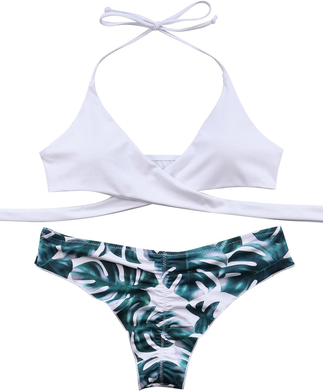 RXRXCOCO Women Wrap Lace Up Bikini Twist Push Up Swimsuit 2 Piece Bikinis