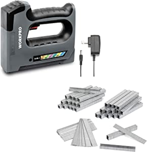 WORKPRO 3.6V 6 in 1 Cordless Staple Gun & 7500-Count Heavy Duty T50 Staples and Brad Nails Combo Kit