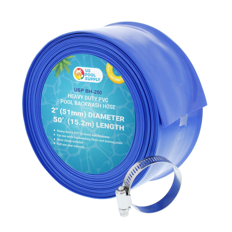 U.S. Pool Supply 2'' x 50' Heavy Duty Blue PVC Swimming Pool Backwash Hose with Hose Clamp by U.S. Pool Supply